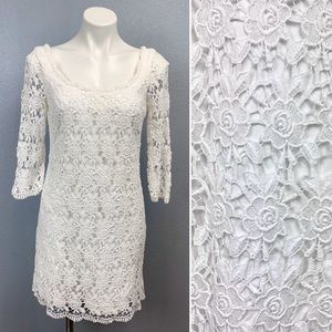 WHBM white floral crochet lace dress with sleeves